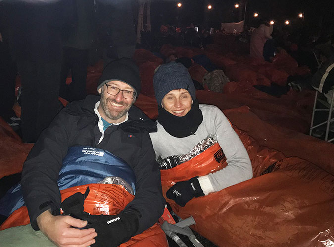 Artisan staff in sleeping bags at sleep out in the park in Edinburgh