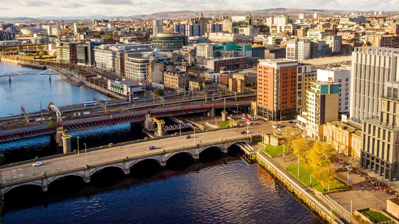 Aerial view of the St Enoch Quarter and the river Clyde